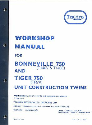 Triumph T140E Bonneville TR7V Tiger 750 Workshop Manual 1973-1978