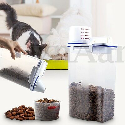 2kg Pet Food Container Bird Dog Cat Animal Storage Box Bin Dry Feed Seed w/Cup