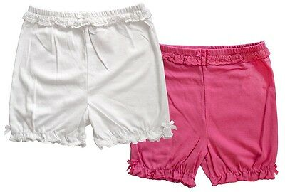 Girls PACK of 2 Baby Toddler Lace Trim Frill Hem Shorts 3 Months to 4 Years