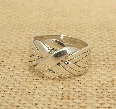 Pure 925 Silver Silver Eight 8 Piece Puzzle Band Ring
