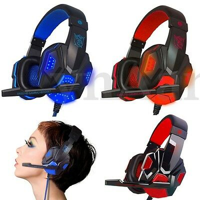 3.5Mm Led Gaming Cuffie Da Gioco Stereo Con Microfono Cavo Fili Per Laptop Pc