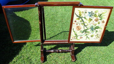 Victorian Triple sliding Fire screen with embriodary