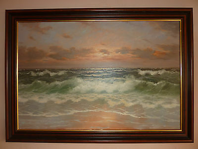 Extra Large Stunning Original Oil On Canvas Seascape Painting SIGNED