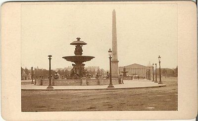 CDV photo Historische Ansicht Place de la Concorde - Paris 1870er