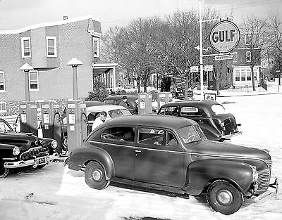 Vintage Gulf Gas Service Station Diamond Ice & Coal Co. Sign 1942