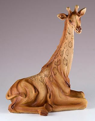 Giraffe Laying Carved Wood Look Figurine Resin 6 Inch High New In Box!