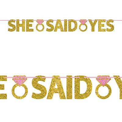 1.3m Engagement Wedding She Said Yes Party Gold Glitter Letter Banner Decoration