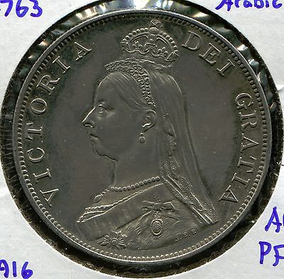 1887 Great Britain Double Florin AU Proof, KM-763, Arabic 1,   only 2,916 struck
