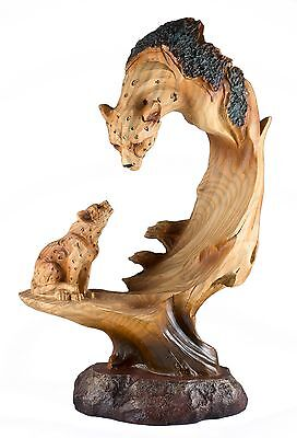 Leopard Carved Wood Look Figurine 9.25 Inch High Resin New In Box!