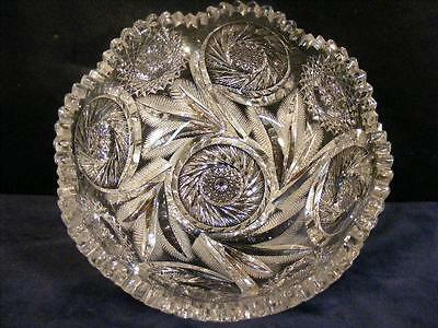 "Beautiful Antique American Brilliant Cut Glass 8"" Bowl - Feathery Leaves"