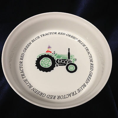 "Queen's China Rosina Farm Green Tractor Bowl 6 3/4"" Childs Writing"