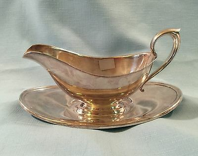 Vintage GORHAM Silver Plate Gravy Sauce Boat w Attached Underplate YC430