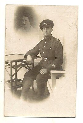 Old Postcard Military Man In Full Uniform Thinking About His Sweetheart