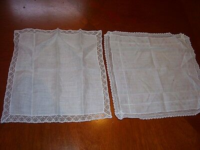 Lot of 2 Vintage Lady's Handkerchiefs With Pretty Lace Edges Ideal Wedding