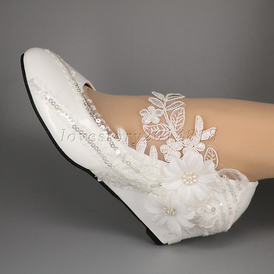 Lace white ivory crystal sequin daisy Wedding shoes Bride low wedges size 5-10