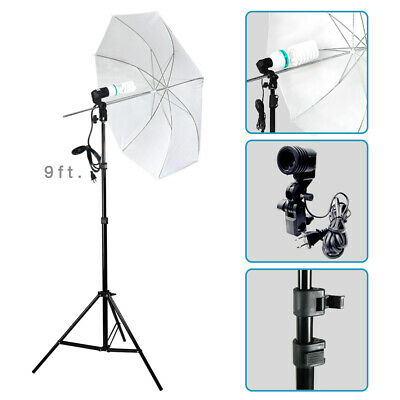 "33"" White Umbrella Photo Studio Continuous Lighting Lamp Photography Stand Kit"