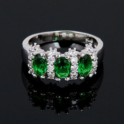 fashion 925 silver emerald gemstone ring engagement