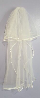 2 layer Ivory bridal wedding veil with comb deluxe satin edge NWOT US seller