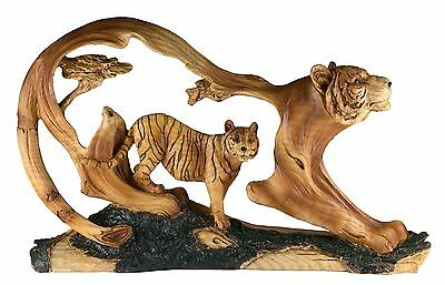 """Tiger Carved Wood Look Figurine 12.25"""" Long Resin New In Box!"""