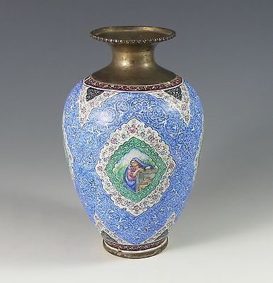 Antique Persian Enamel And Plated Copper Hand Painted Vase -