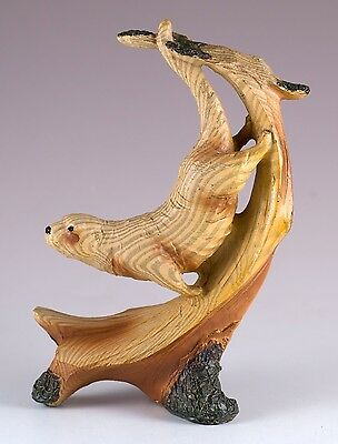 """Sea Otter Carved Wood Look Figurine Resin 5"""" High New In Box!"""