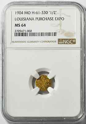 1904 1/2 Mo H-61-330 Louisiana Purchase Expo Gold Commemorative NGC MS64