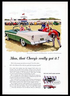 1956 Chevrolet Bel Air convertible Chevyteal green & white car vintage print ad