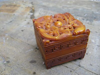 Vintage chinese inkwell stamp box, carved stone, fish koi swimming