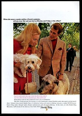 1967 Dandie Dinmont Terrier Irish Wolfhound photo Hunter Haig coat print ad