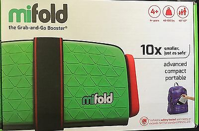NEW mifold 1.6lb Grab-and-Go Booster Car Seat Green taxi Plane Travel 40-100 lb