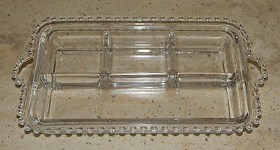 Vintage Imperial Glass Candlewick Divided Rectangular Relish Condiment Dish Bowl