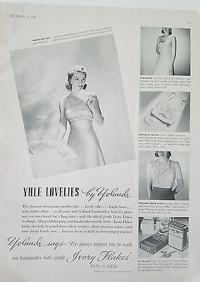 1940 Ivory soap flakes Yolande women's lingerie ribbon and Lace Yule fashion ad