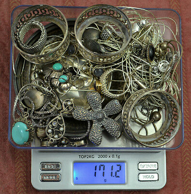 171.2 Grams Sterling Silver .925 - Scrap and Wearable Lot W