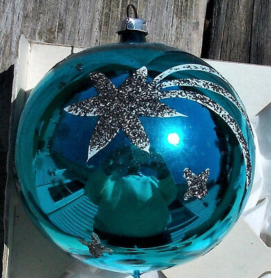 Large Vintage Germany Glass Atomic SHOOTING STARS Christmas ORNAMENT with ANGEL