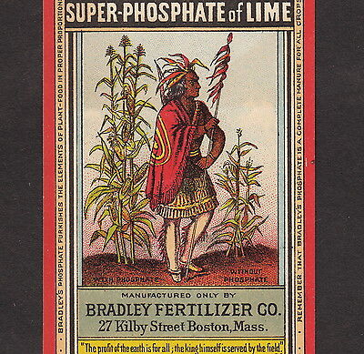 Antique 1800's Indian Corn Bradley Fertilizer Boston Advertising Farm Trade Card