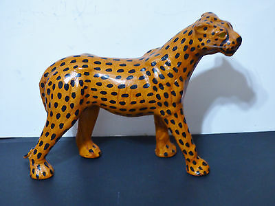 """CHEETAH Vintage Leather Wrapped w Glass Eyes 7 Whiskers Detailed 13"""" L 10.5"""" H"""