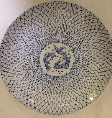 Antique Chinese Porcelain Blue And White Jumping Fish Plate Netting Net