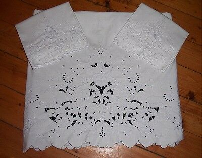 Vintage Madeira White Embroidered Cut Work Flat Bed SHEET Set & 2 PILLOWCASES
