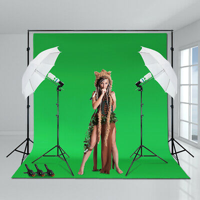 "10 x 10 ft. Green Muslin Backdrop Screen 800W 33"" White Umbrella Light Clamp Kit"