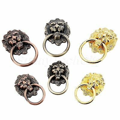 Creative Lion Head Vintage Drawer Door Cabinet Pull Ring Knobs Handles Antique