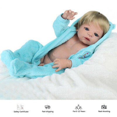 "22"" Full body Soft Vinyl Silicone Reborn Baby Dolls Realistic Newborn Boy Doll"
