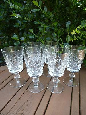 6 Lead Crystal Deep Faceted Cut Stemmed Glasses Sherry Port