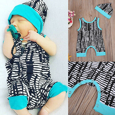 Newborn Baby Boys Infant Romper Jumpsuit Bodysuit Clothes Sunsuit Outfits W/Hat