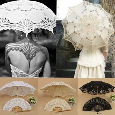 Handmade Lady Cotton Lace Parasol Umbrella + Folding Hand Fan For Bridal Wedding