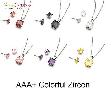 Square Cubic Zircon White Gold Plated Stud Earrings Pendant Necklace Jewelry Set