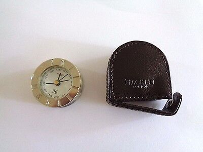 Hackett Of London alarm  Travel /Desk Clock with leather case free post