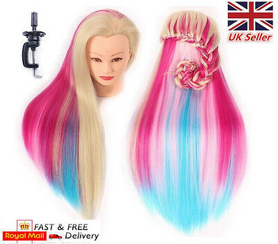 """24"""" 60CM Colorful Hair Training Head Mannequin Hairdressing Cut Doll with Clamp"""