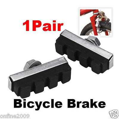 2PCS Durable Rubber Bicycle Cycling Bike V Brake Holder Pads Shoes Blocks Black