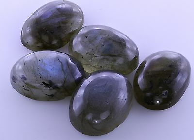 LARGE 14x10mm OVAL CABOCHON-CUT NATURAL AFRICAN LABRADORITE GEMSTONE £1 NR!