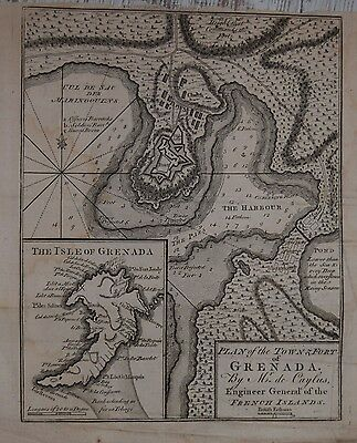 A Plan Of The Town And Fort Of Grenada, London Magazine 1762.